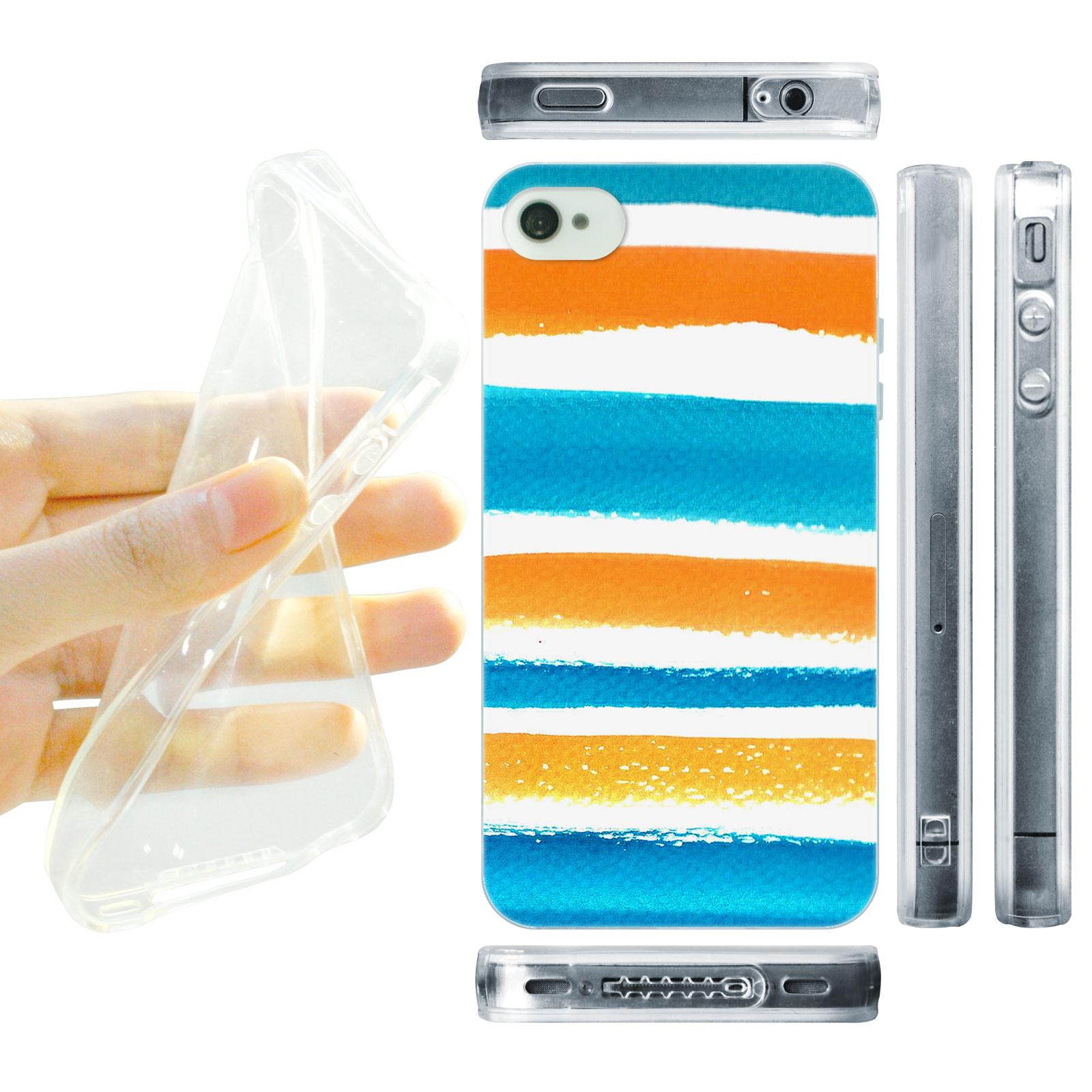 HEAD CASE silikonový obal na mobil Iphone 4/4S Vzor barevné pruhy oranžová a modrá