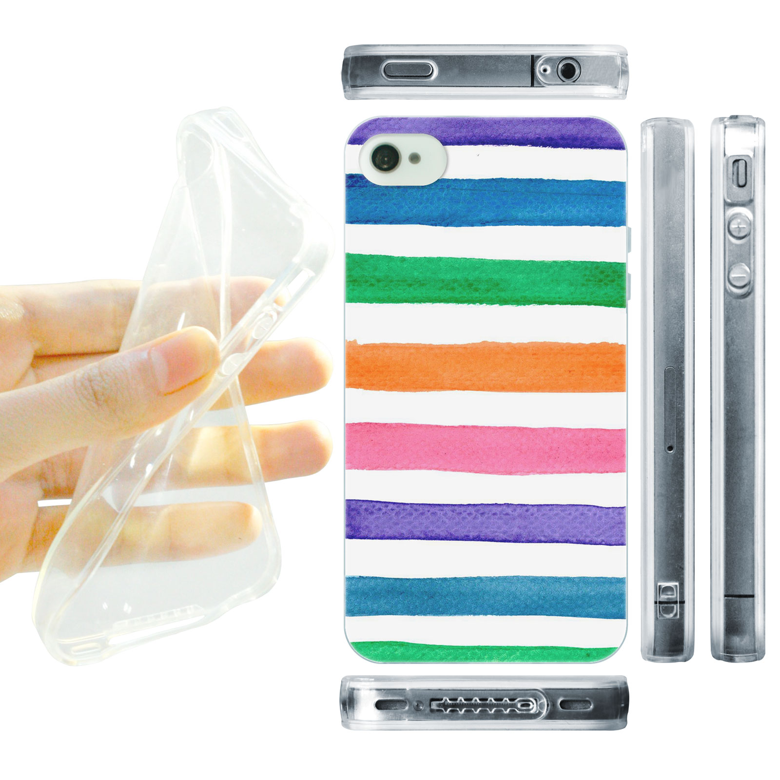 HEAD CASE silikonový obal na mobil Iphone 4/4S Vzor barevné pruhy barevná kombinace duha