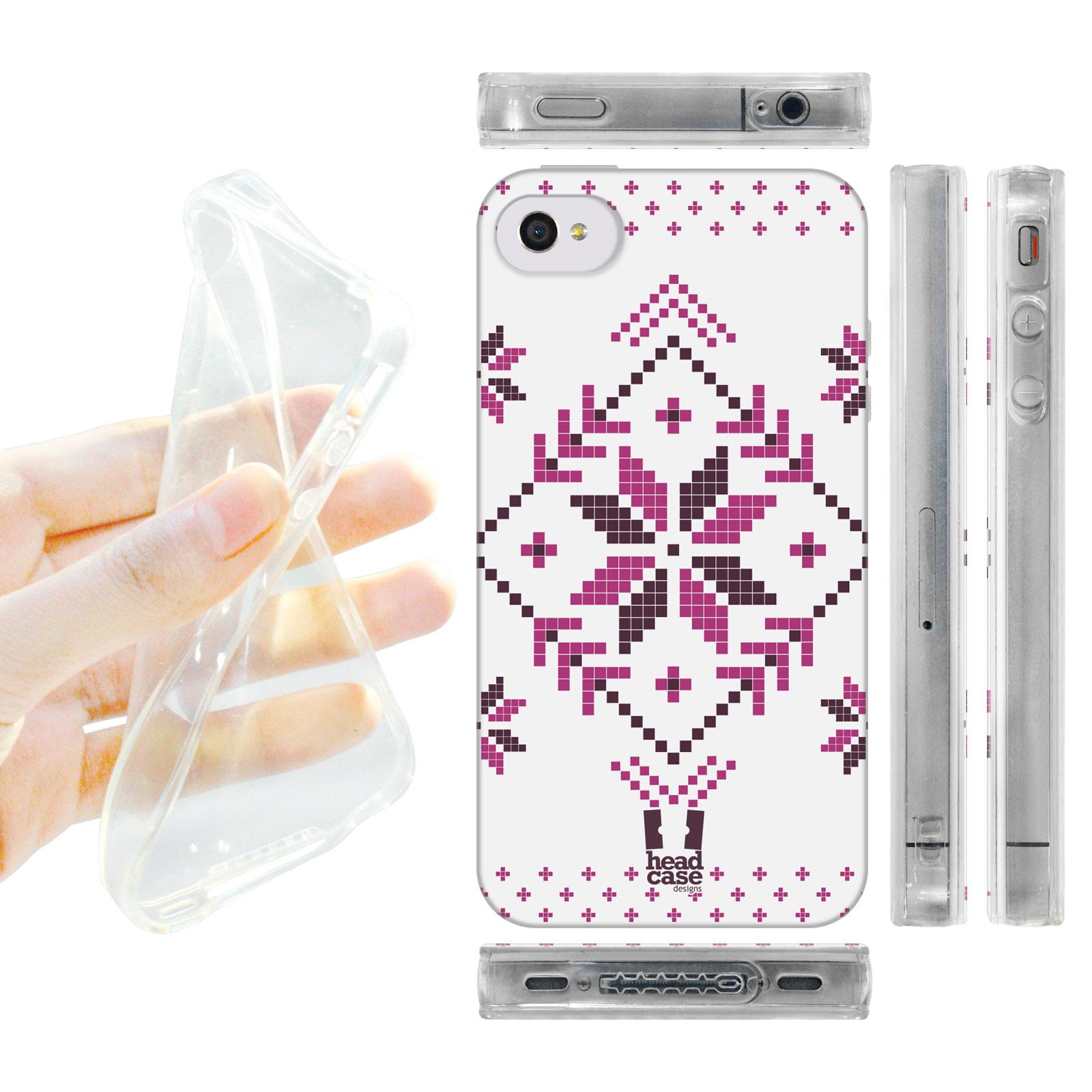 HEAD CASE silikonový obal na mobil Iphone 4/4S Vzor zima fialová vločka bílé pozadí