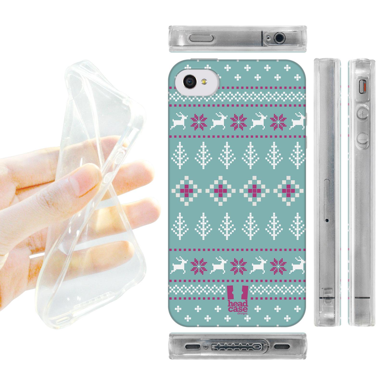 HEAD CASE silikonový obal na mobil Iphone 4/4S Vzor zima modrá a fialová zima pruhy