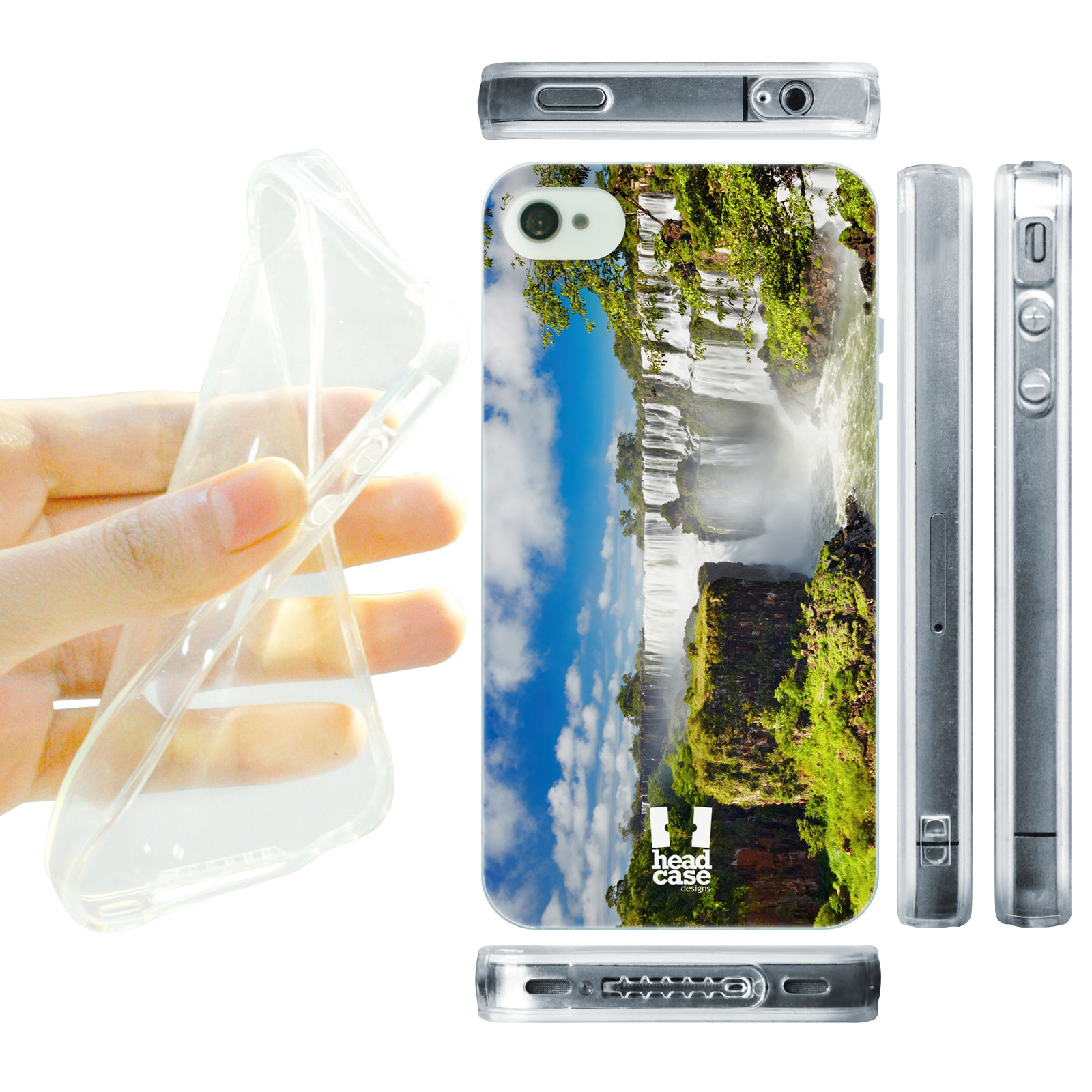 HEAD CASE silikonový obal na mobil Iphone 4/4S foto Iguaza vodopád modrá a zelená