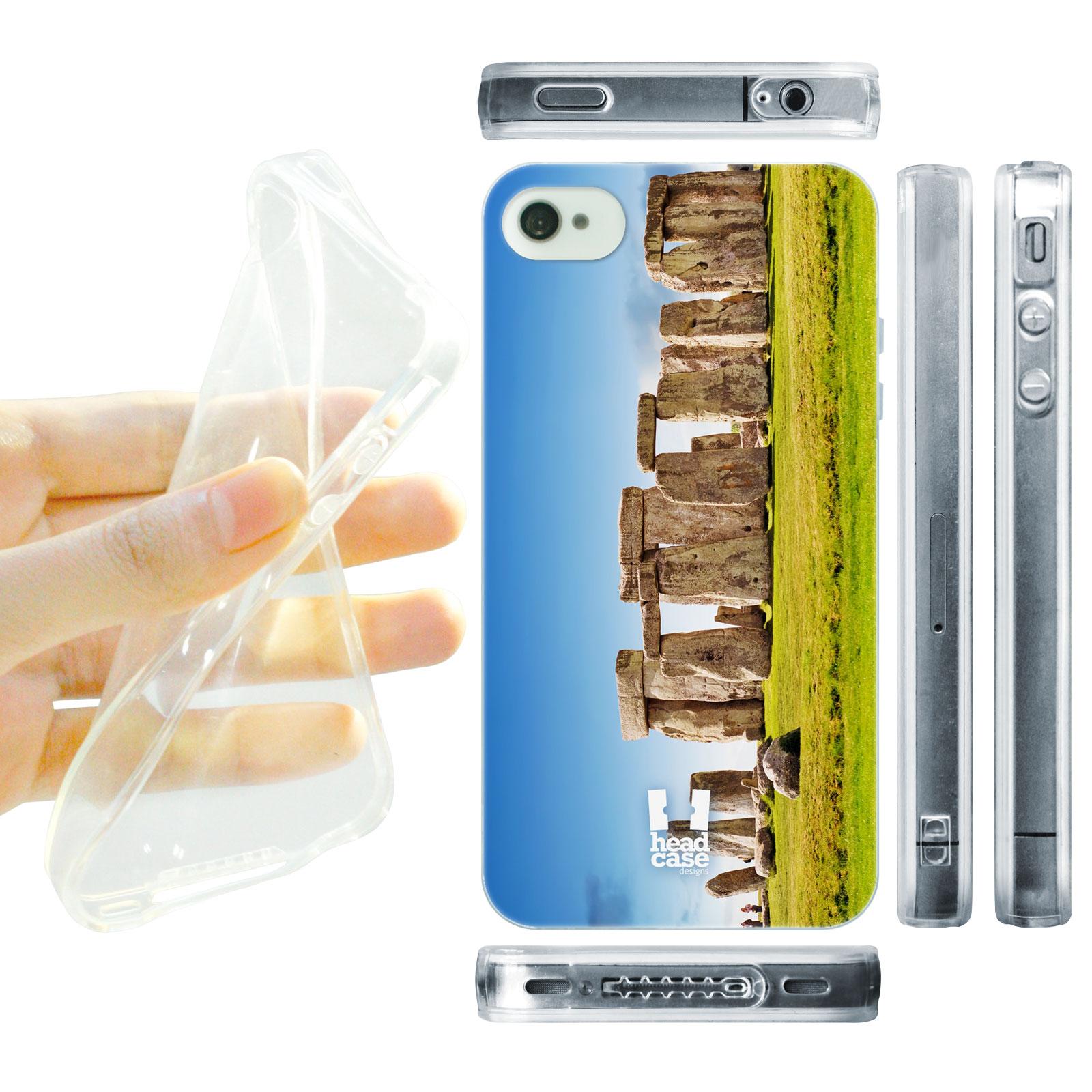 HEAD CASE silikonový obal na mobil Iphone 4/4S foto Stonehenge Anglie tráva