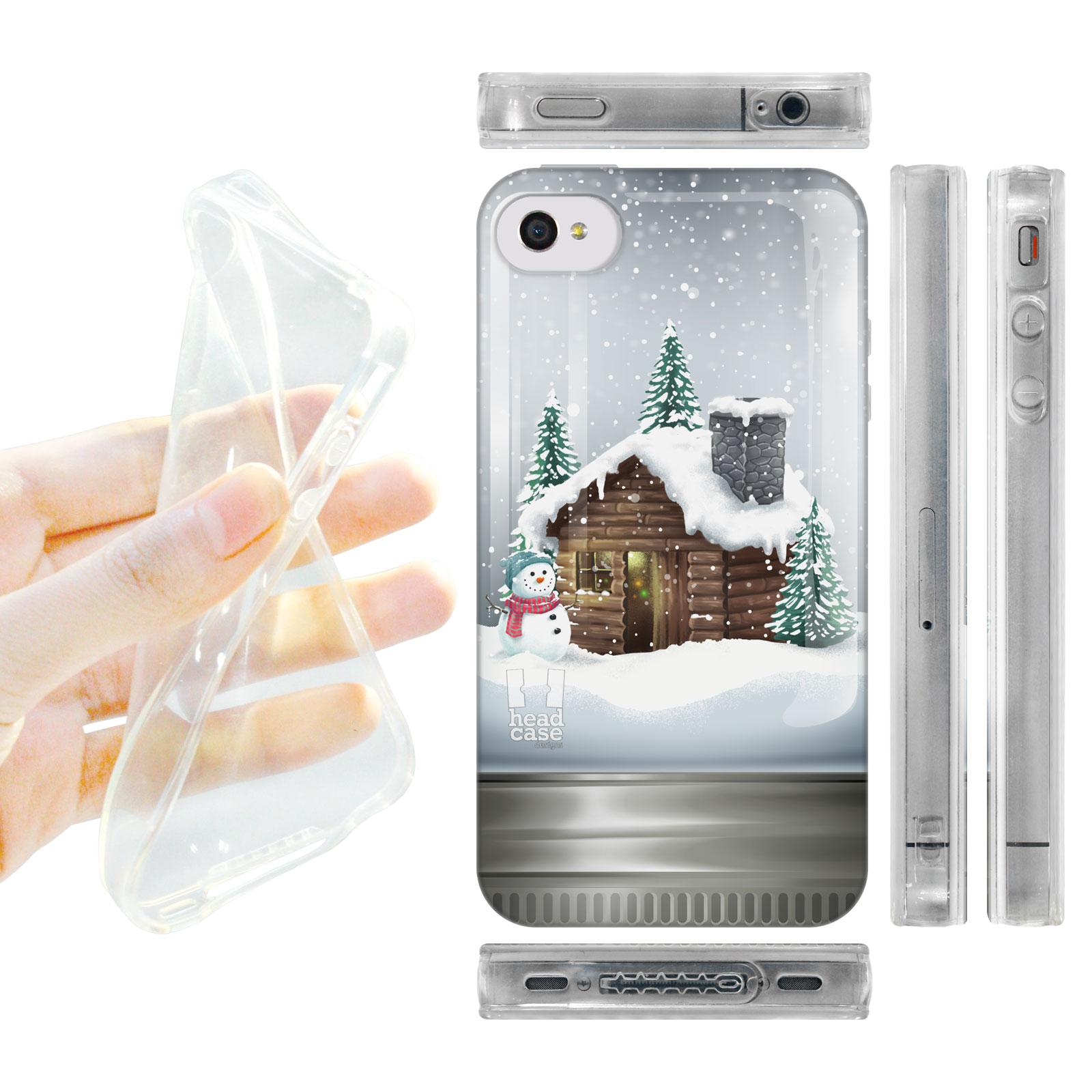 HEAD CASE silikonový obal na mobil Iphone 4/4S vánoční koule chatrč hnědá barva