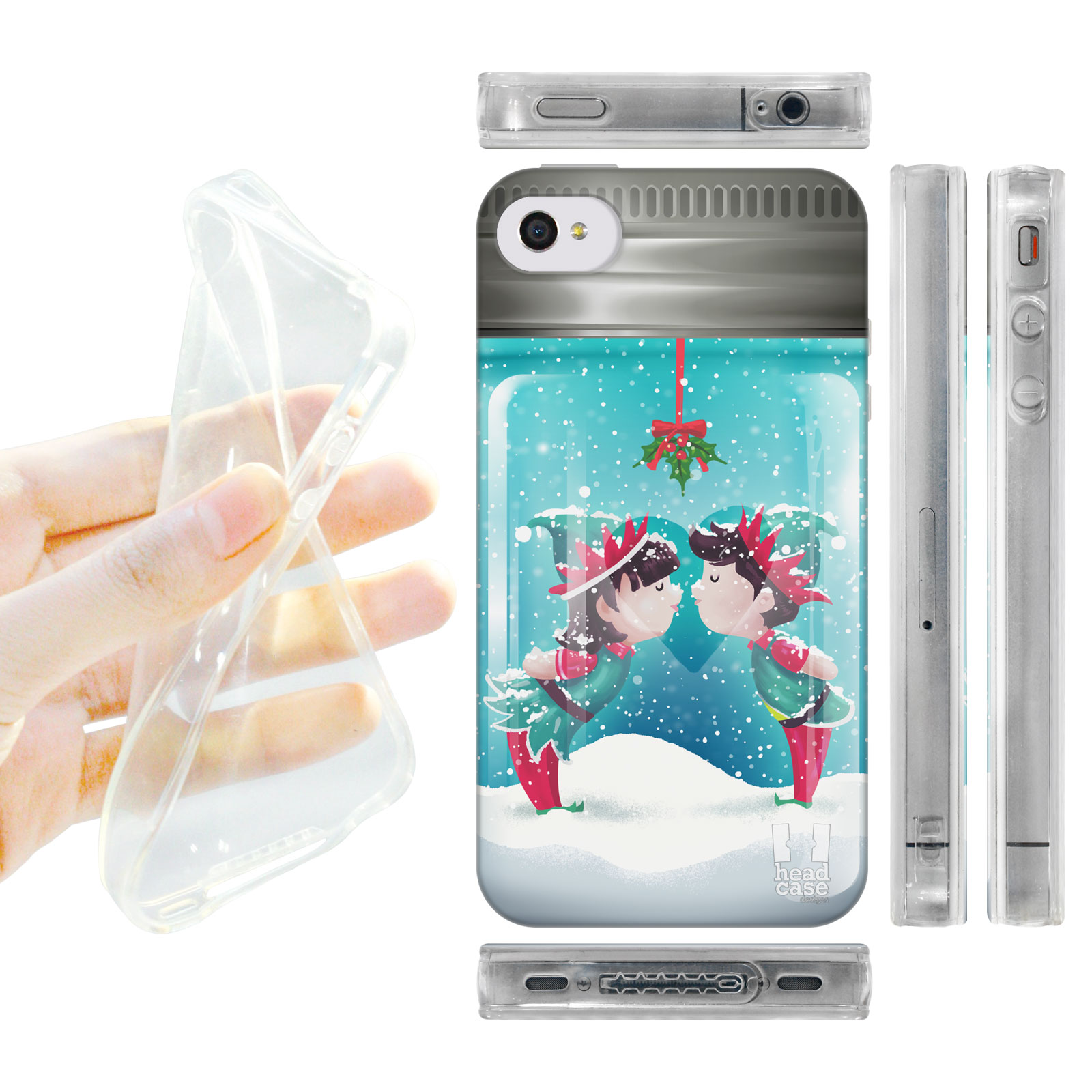 HEAD CASE silikonový obal na mobil Iphone 4/4S vánoční koule pusa modrá barva