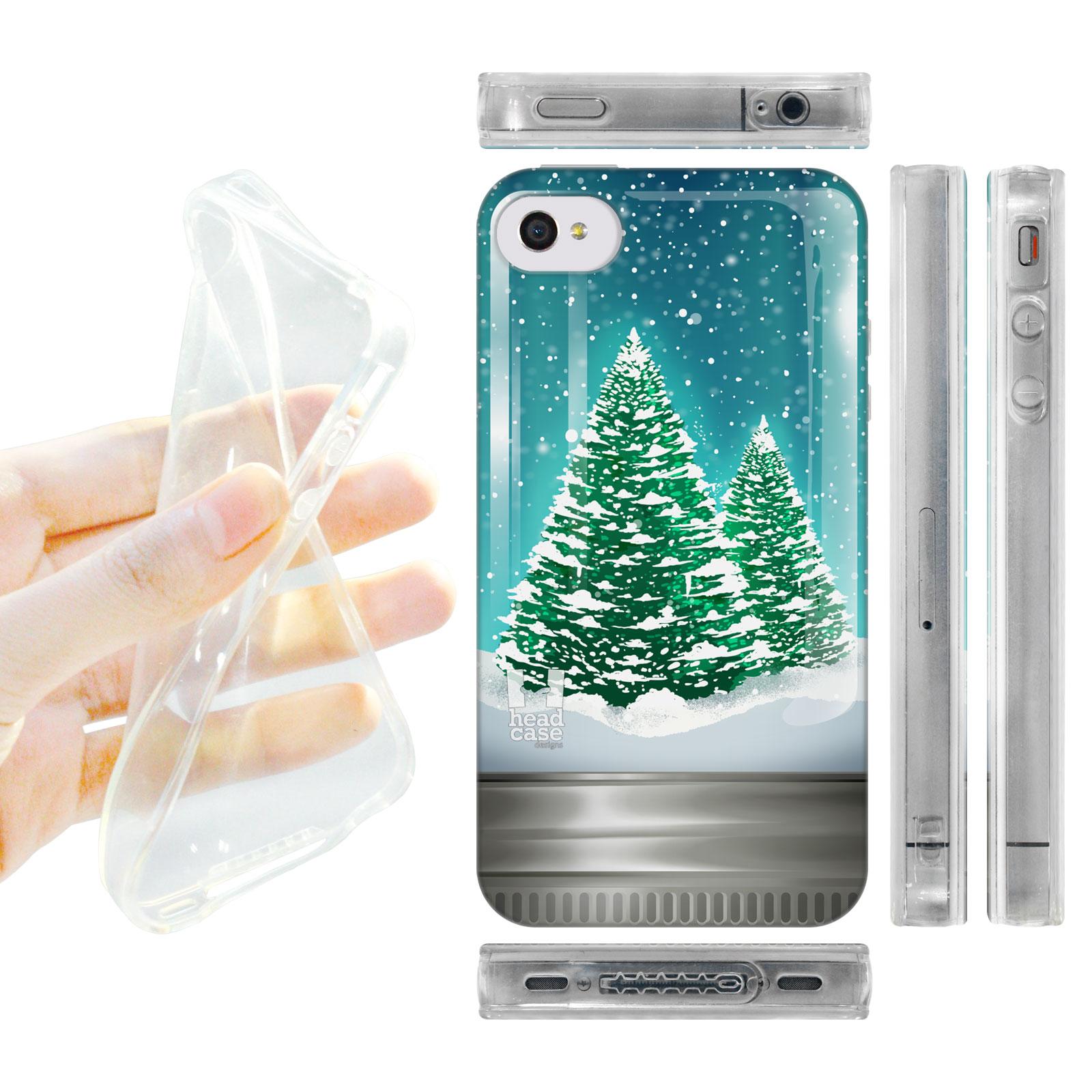 HEAD CASE silikonový obal na mobil Iphone 4/4S vánoční koule stromeček zelená barva
