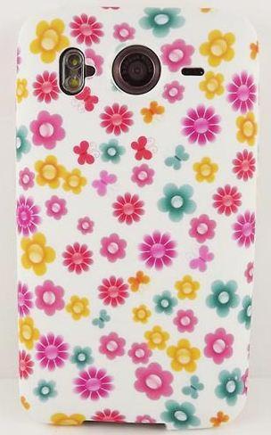 Pouzdro SES Flower na mobil HTC Desire HD bílý silikon květy růžová