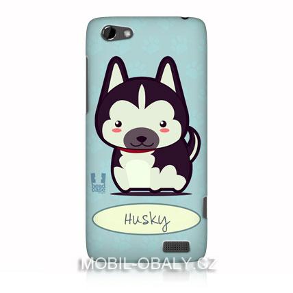 HEAD CASE Pouzdro na mobil HTC one V pes husky modrý odstín