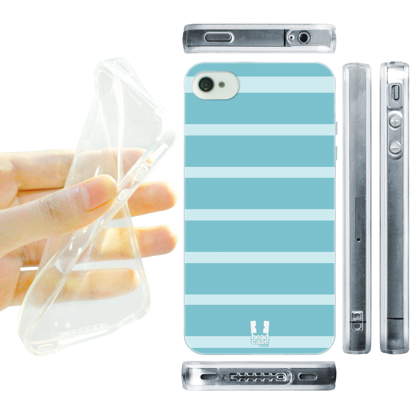 HEAD CASE silikonový obal na mobil Iphone 4/4S barevné pruhy modrá světlá