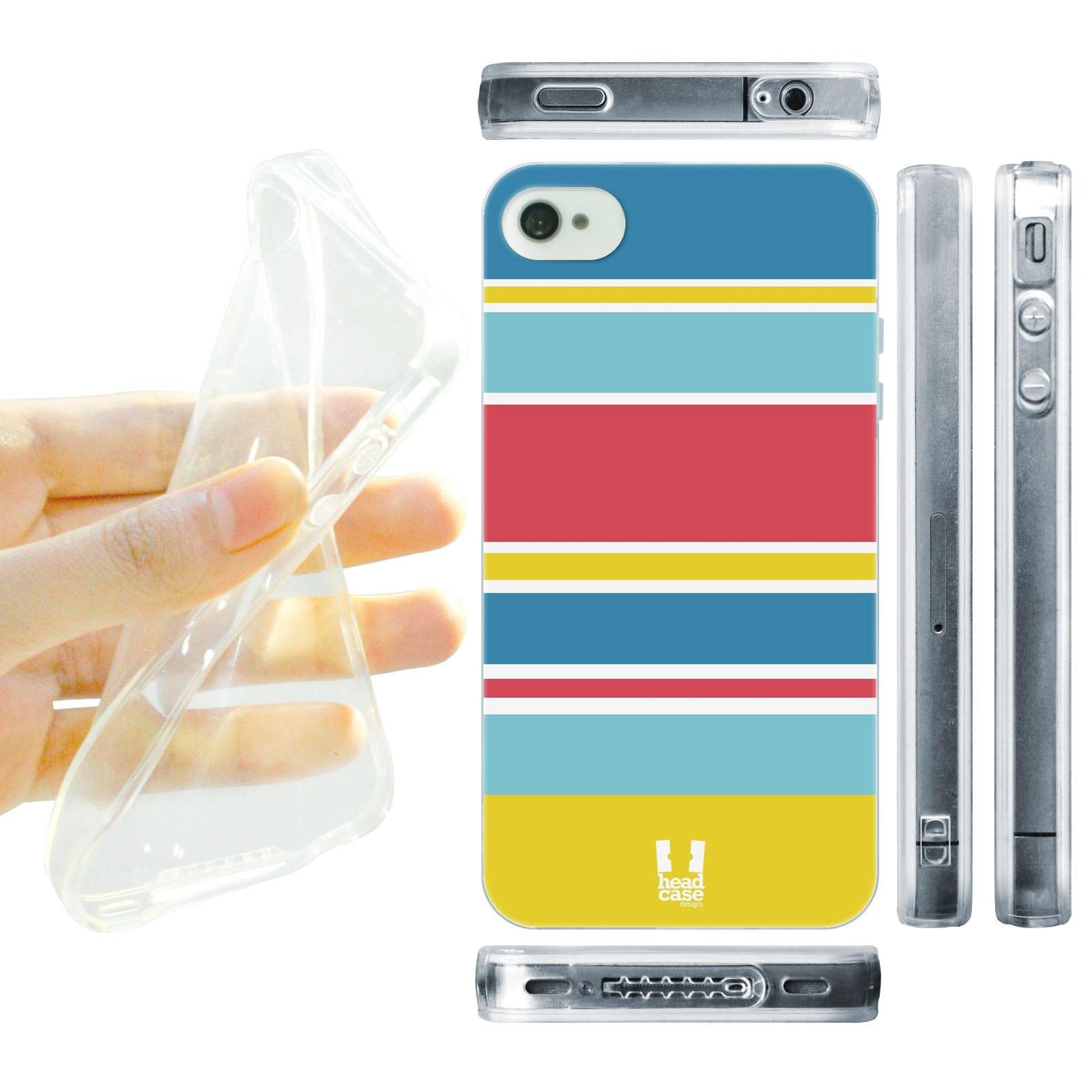 HEAD CASE silikonový obal na mobil Iphone 4/4S barevné pruhy modrá červená a žlutá