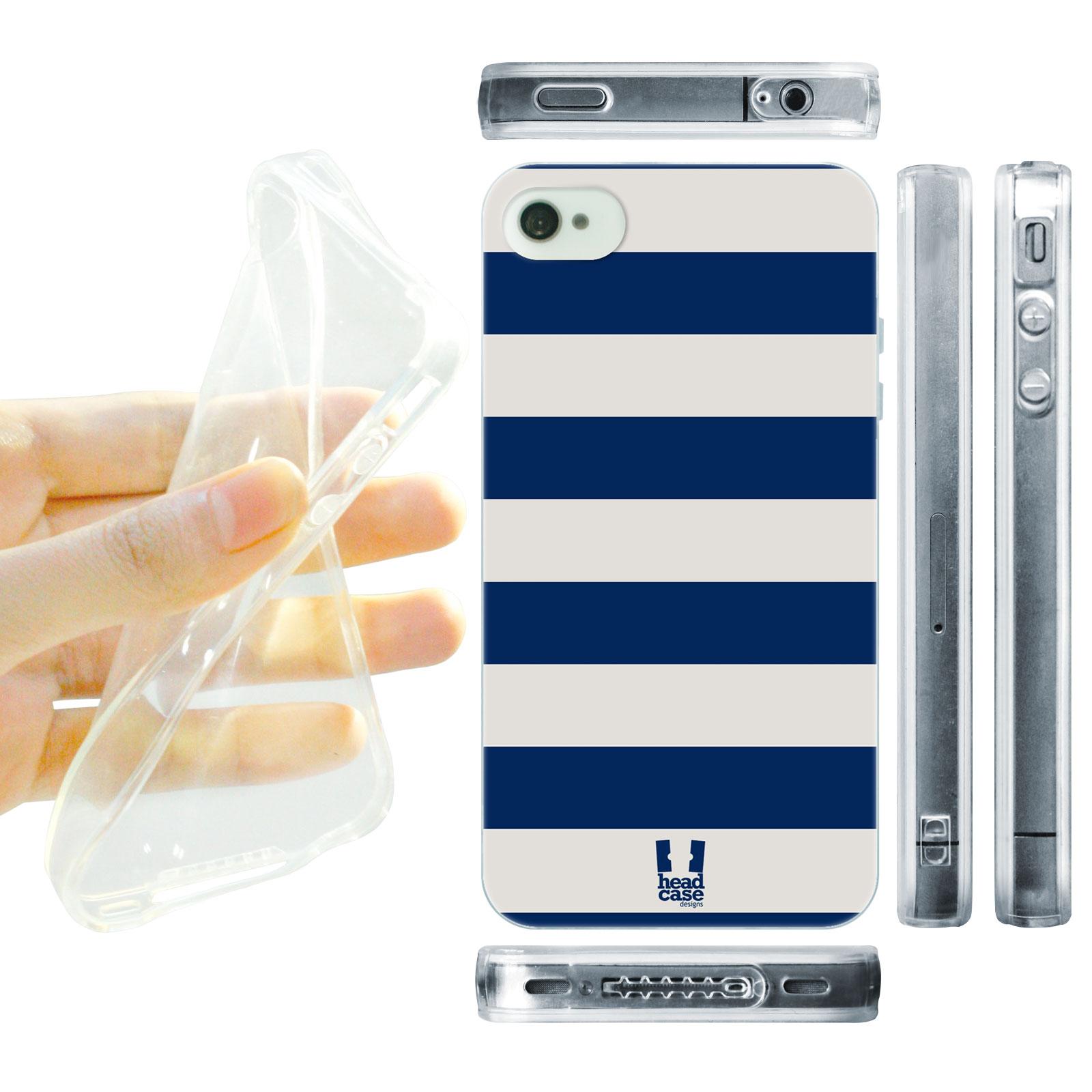 HEAD CASE silikonový obal na mobil Iphone 4/4S barevné pruhy modrá barva námořník