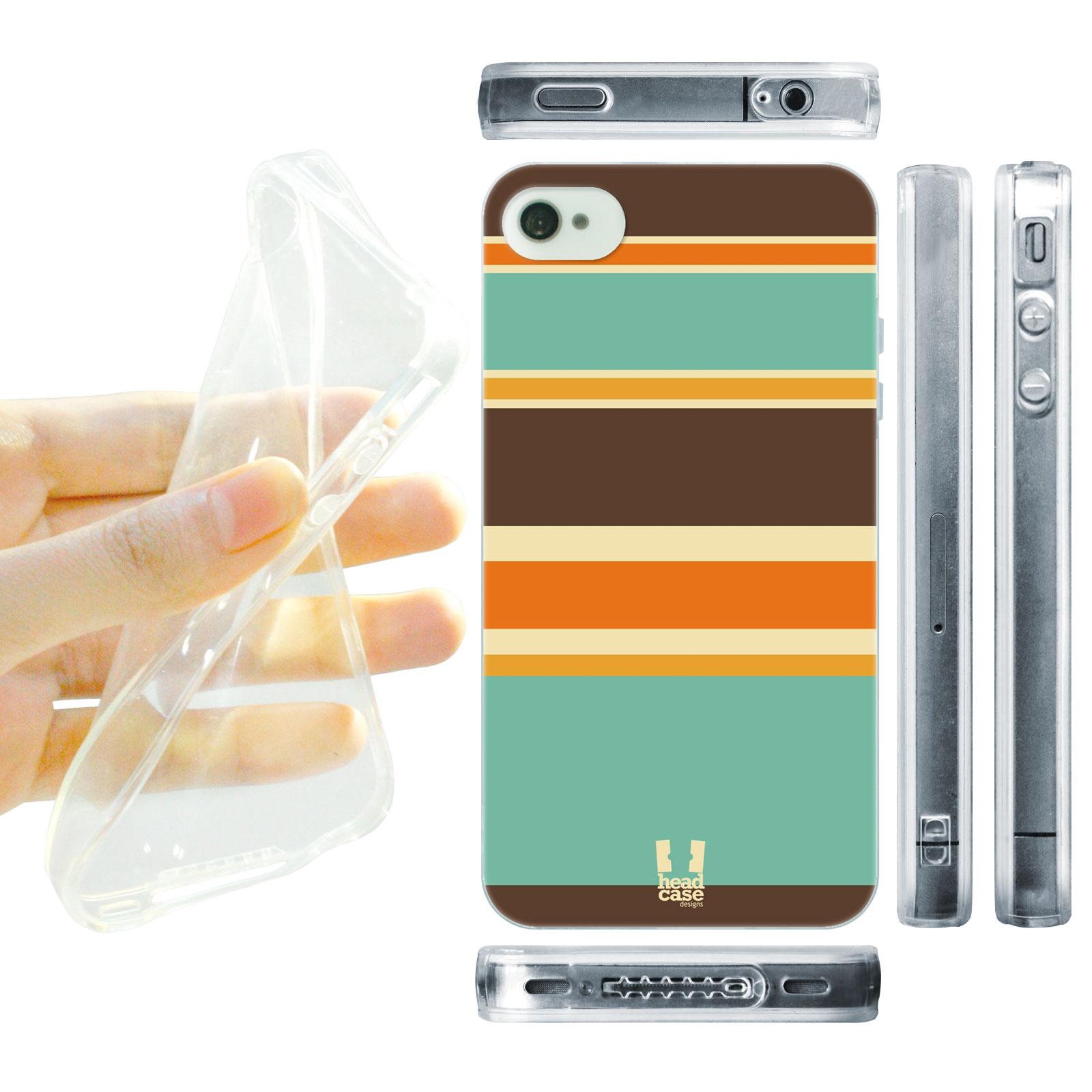 HEAD CASE silikonový obal na mobil Iphone 4/4S barevné pruhy hnědá a oranžová