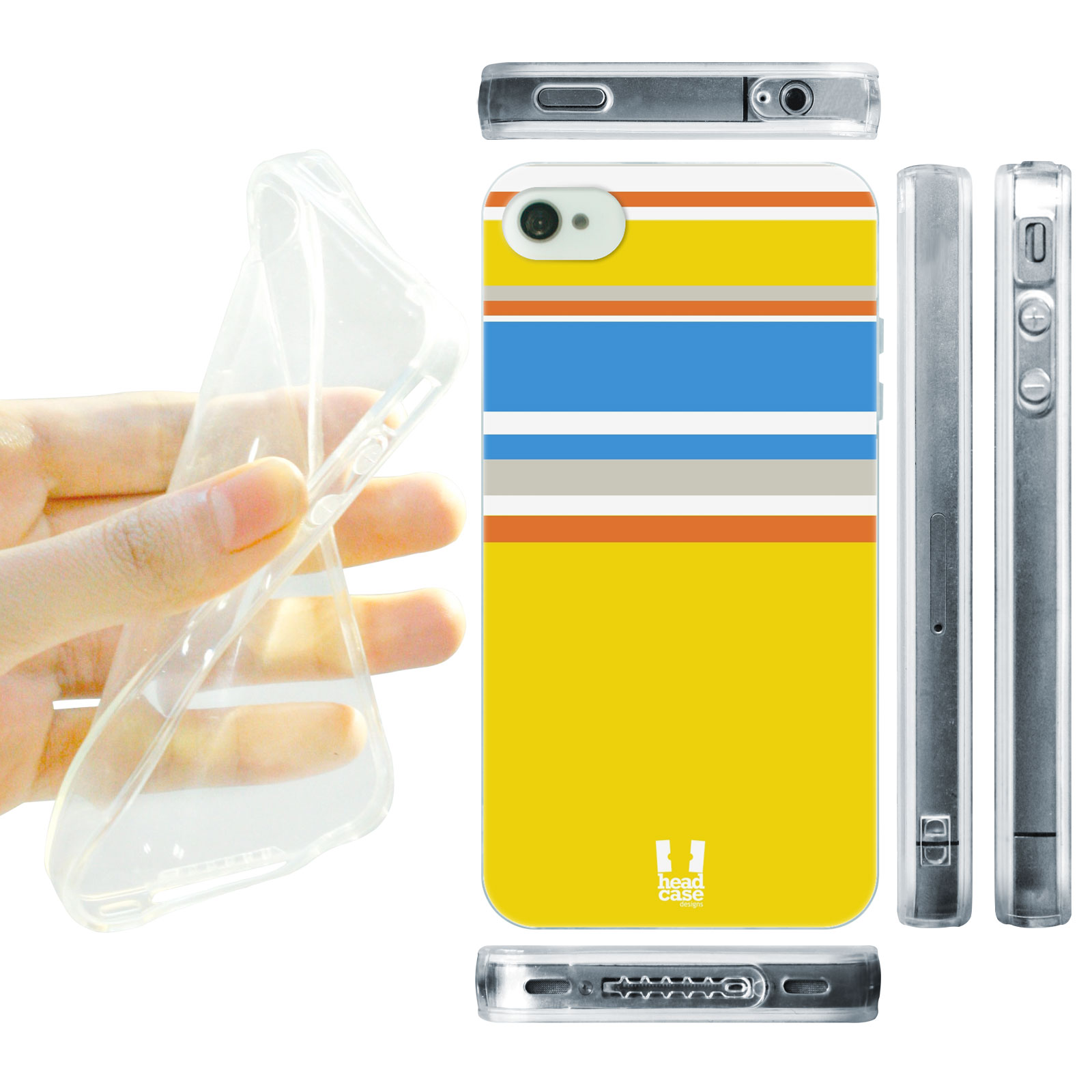 HEAD CASE silikonový obal na mobil Iphone 4/4S barevné pruhy žlutá modrá pláž