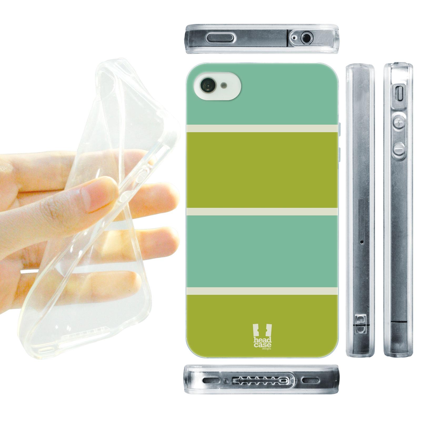 HEAD CASE silikonový obal na mobil Iphone 4/4S barevné pruhy tyrkysová a zelená