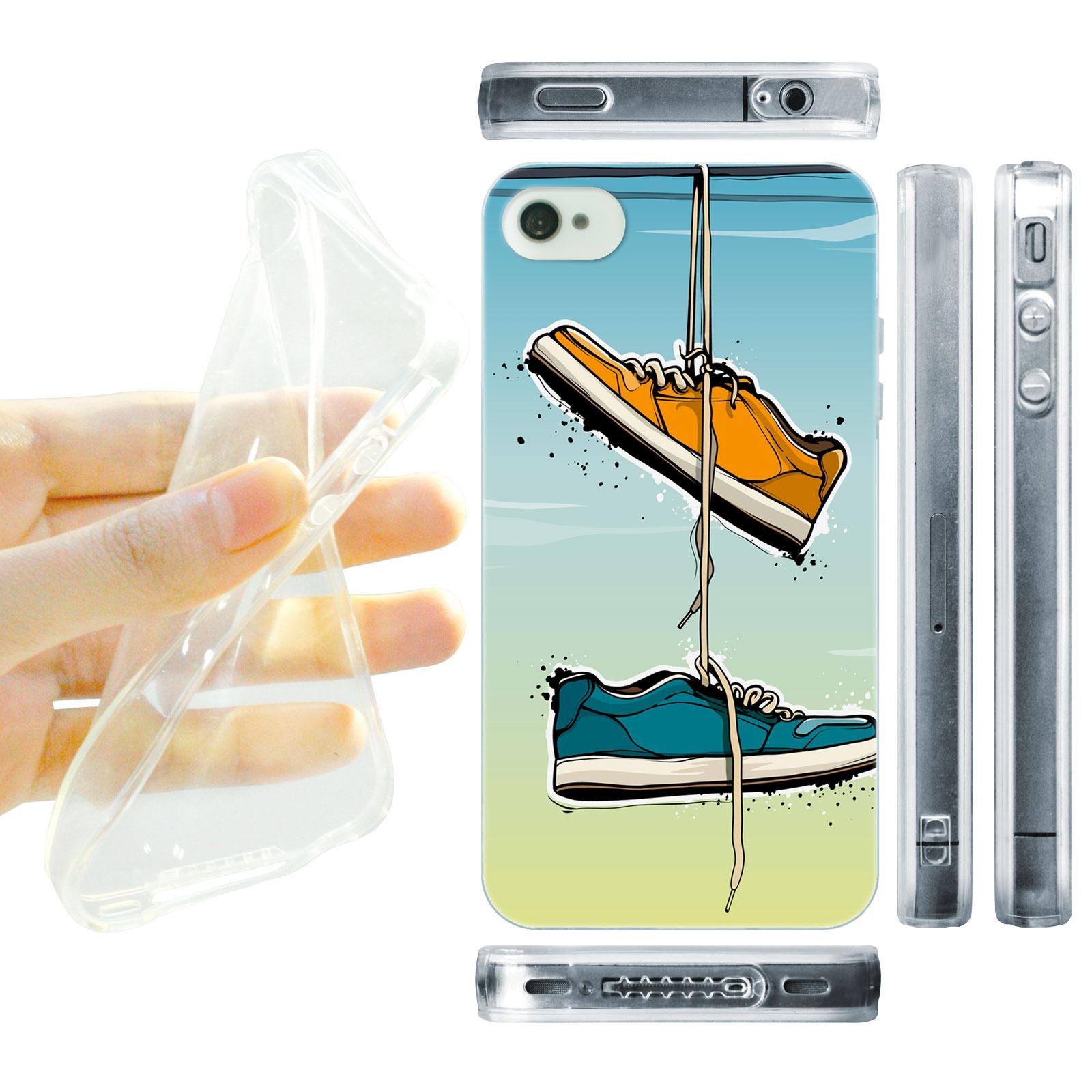 HEAD CASE silikonový obal na mobil Iphone 4/4S Urban styl Botičky tkaničky modrá a žlutá