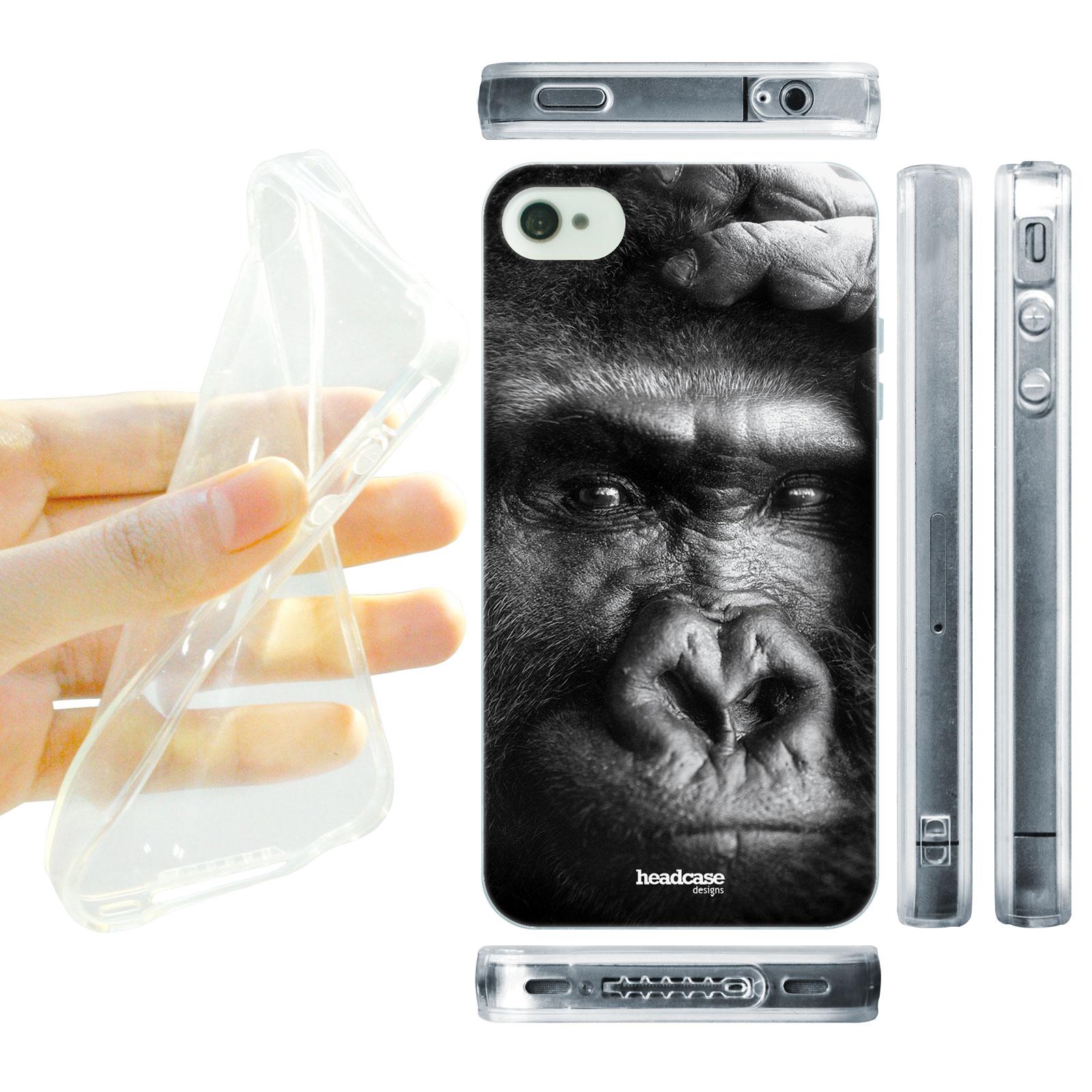 HEAD CASE silikonový obal na mobil Iphone 4/4S divočina černobílá fotka Gorila tvář