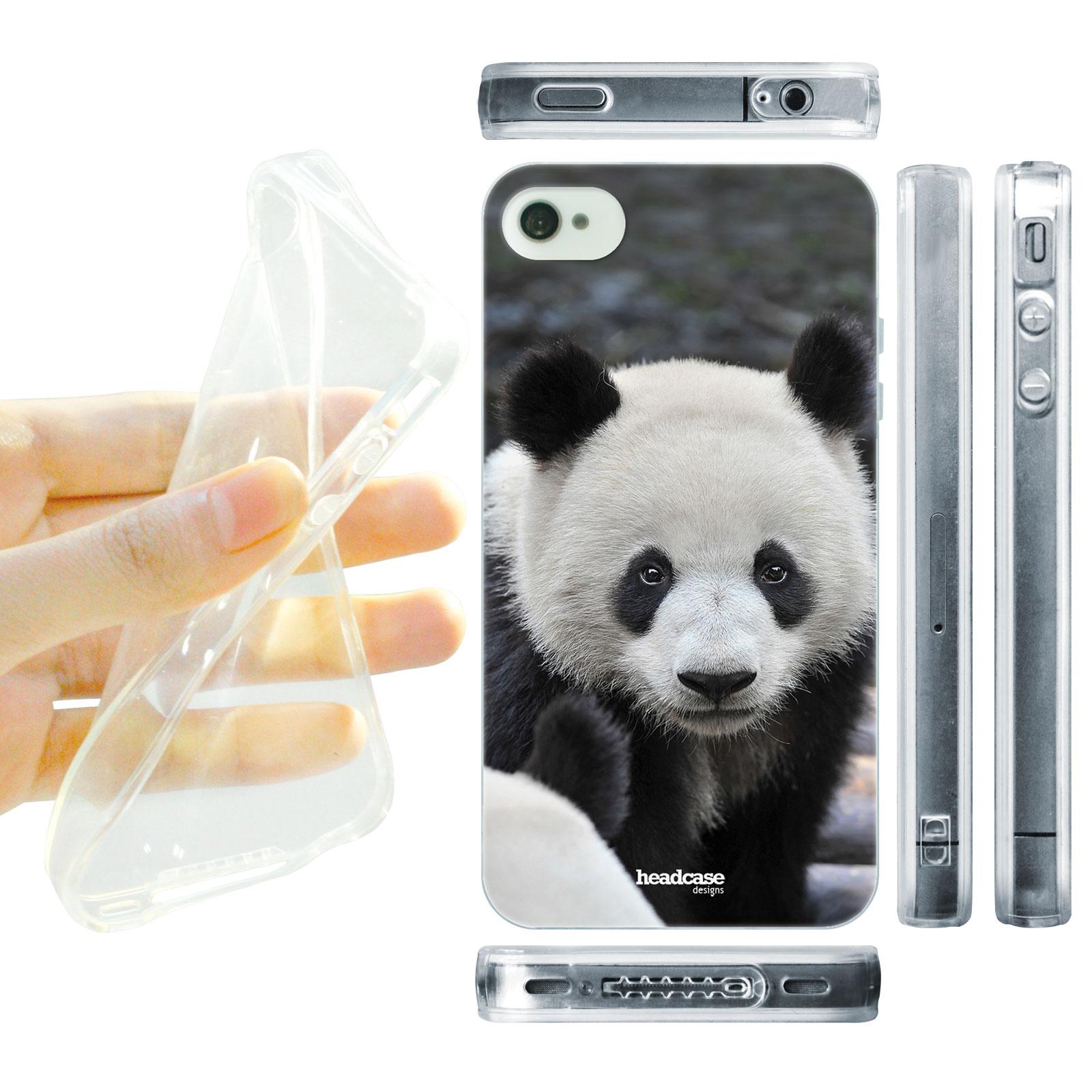 HEAD CASE silikonový obal na mobil Iphone 4/4S divočina černá a bílá barva medvídek panda