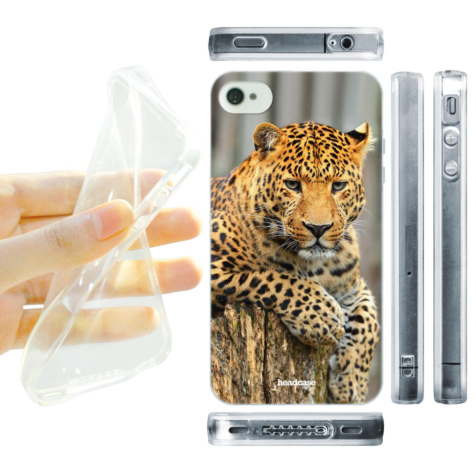 HEAD CASE silikonový obal na mobil Iphone 4/4S divočina leopard tvář portrét žlutá foto