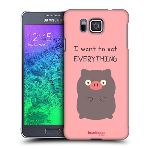 HEAD CASE obal na mobil Samsung Galaxy ALPHA zvířátka prasátko růžová barva