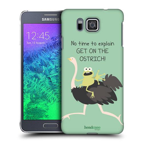 HEAD CASE obal na mobil Samsung Galaxy ALPHA zvířátka žába a pštros