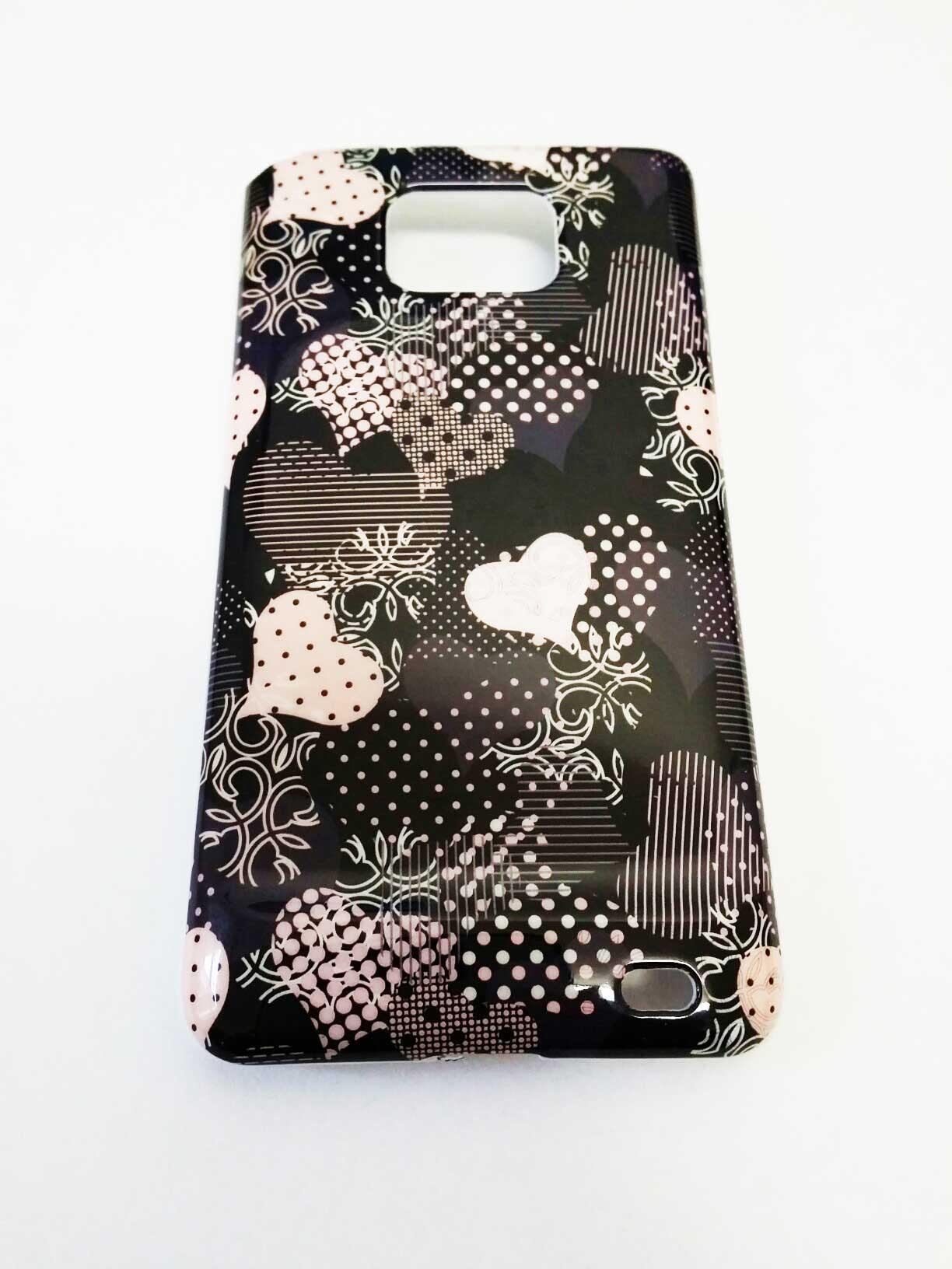 Obal pevný Samsung i9100 Galaxy S2 srdíčka černá a růžová