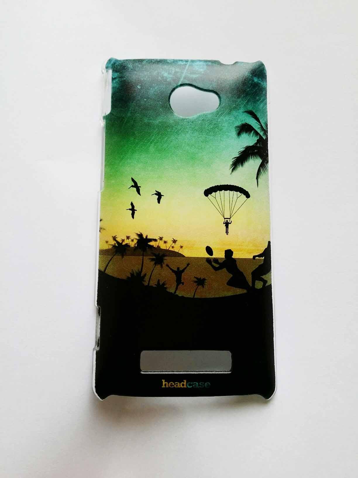 HEAD CASE obal na mobil HTC windows phone 8X Silueta pláž zelená a žlutá