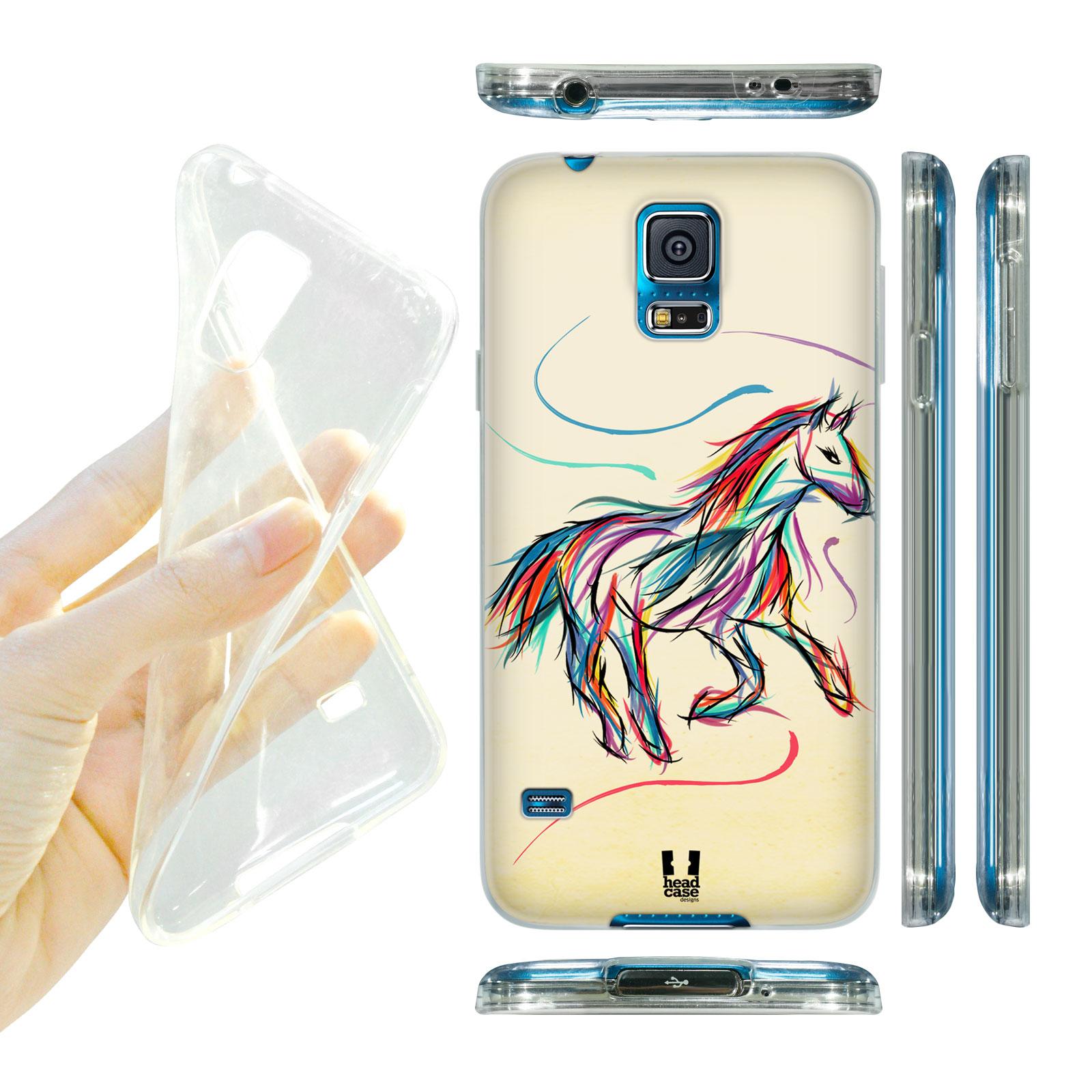 HEAD CASE silikonový obal na mobil Samsung galaxy S5 barevná kresba kůň