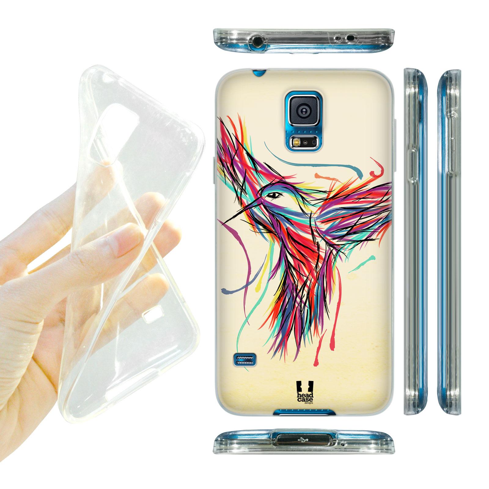 HEAD CASE silikonový obal na mobil Samsung galaxy S5 barevná kresba kolibřík