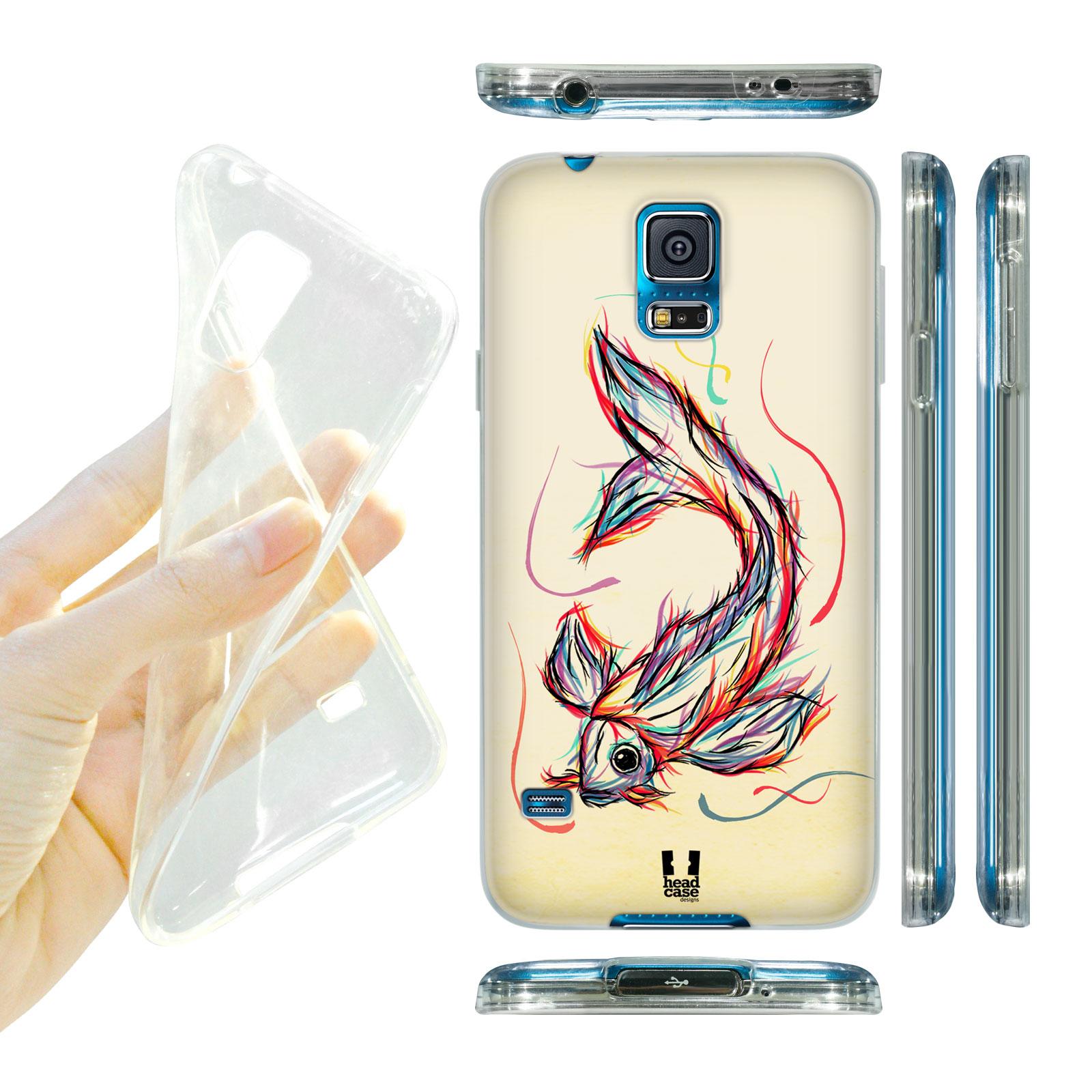 HEAD CASE silikonový obal na mobil Samsung galaxy S5 barevná kresba rybka