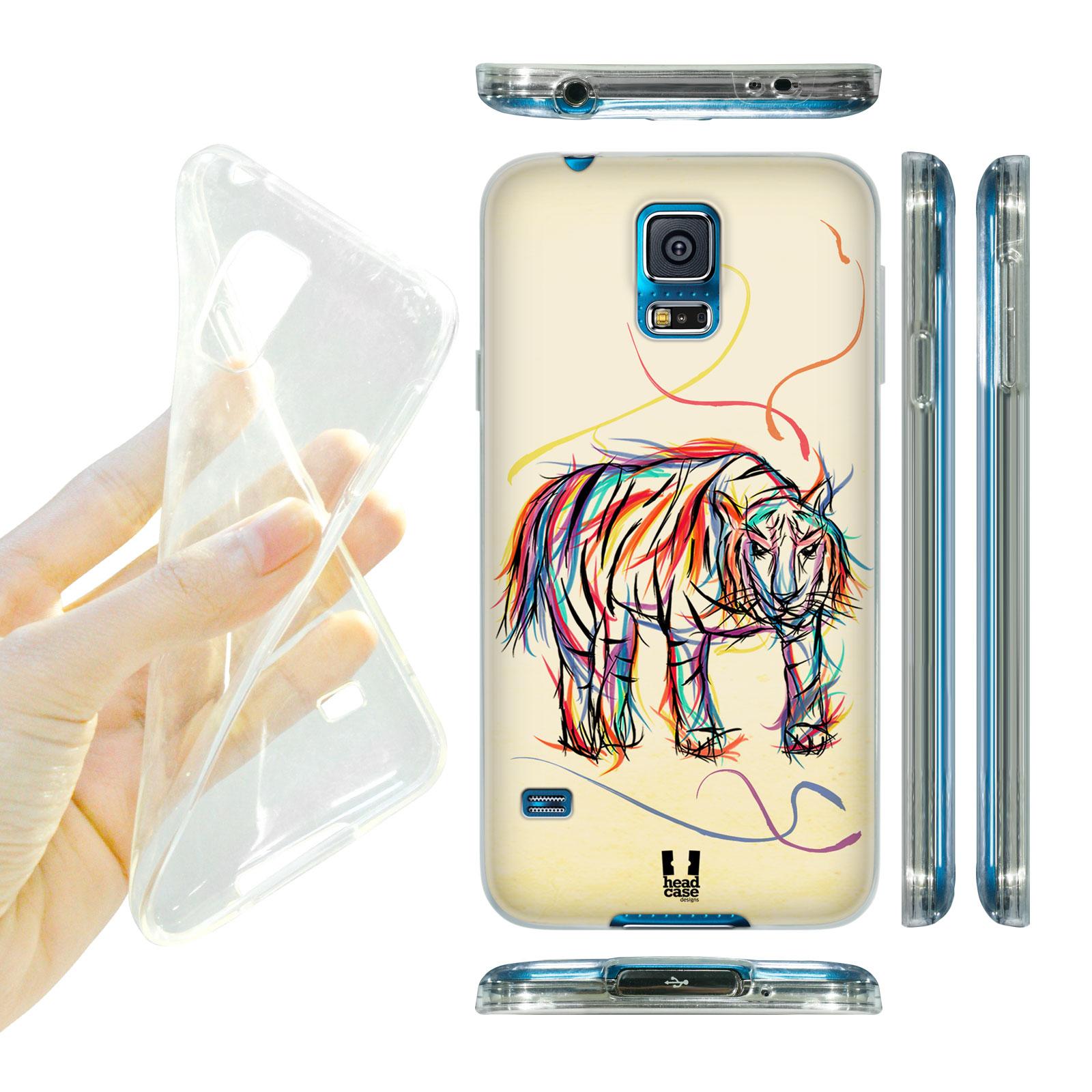 HEAD CASE silikonový obal na mobil Samsung galaxy S5 barevná kresba tygr