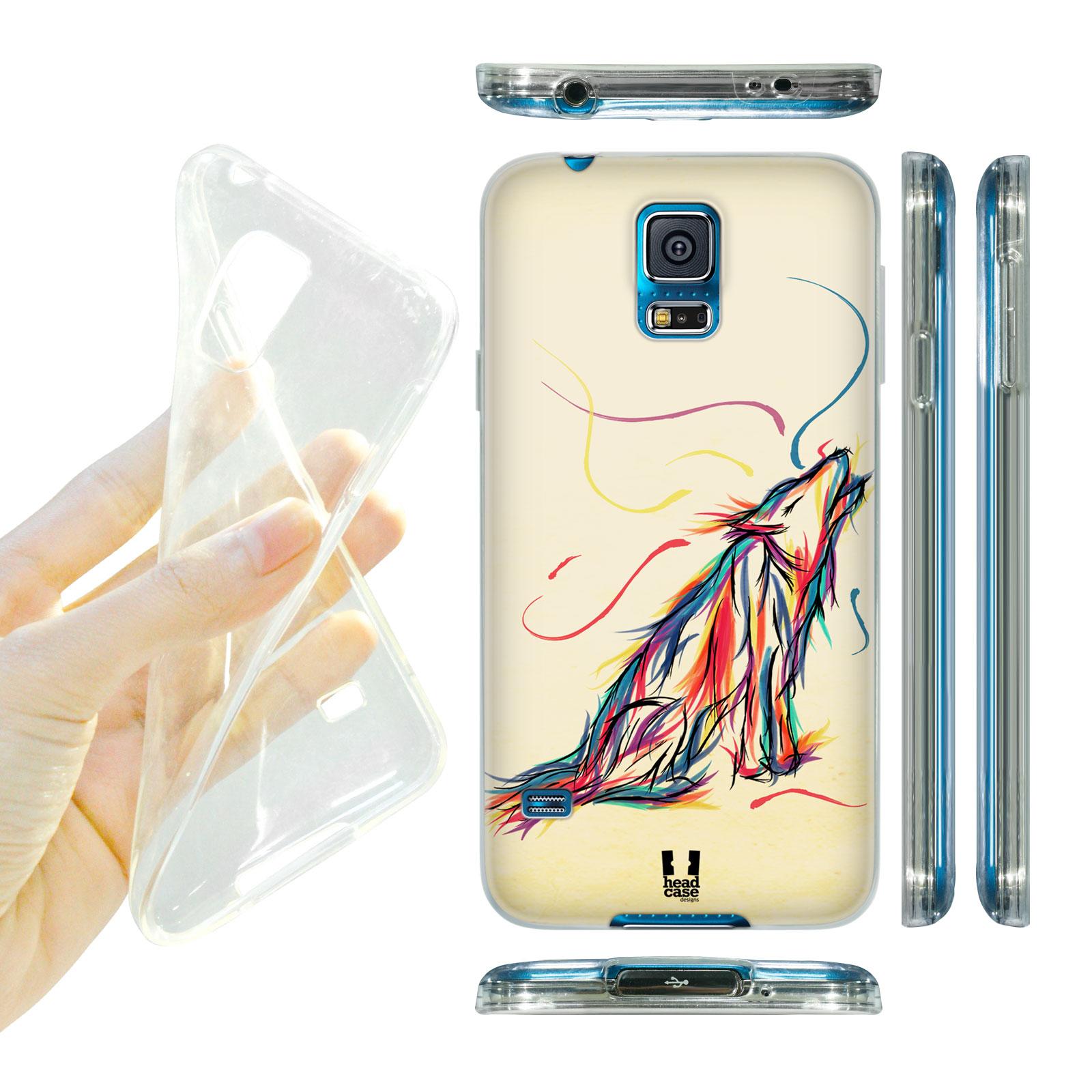 HEAD CASE silikonový obal na mobil Samsung galaxy S5 barevná kresba vlk