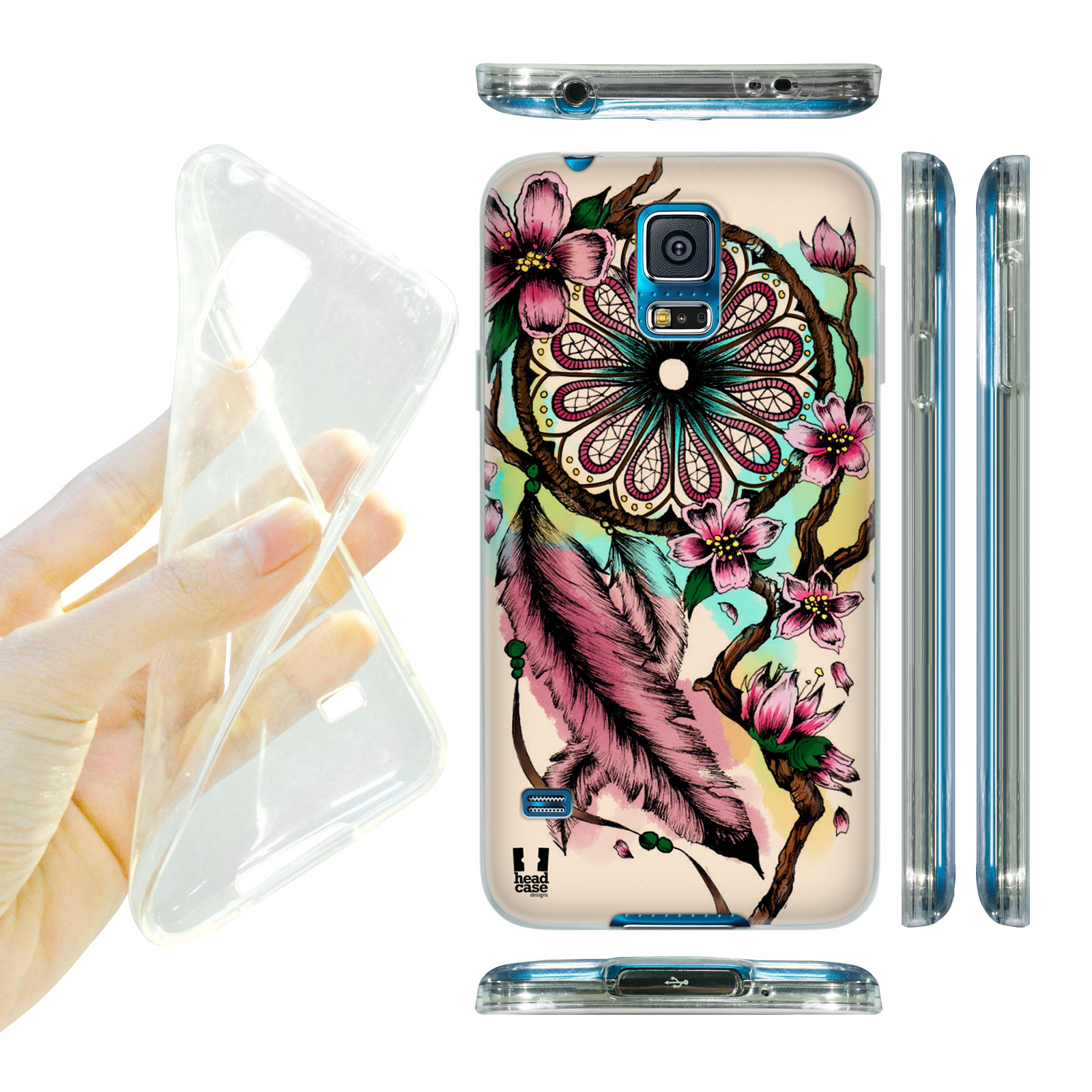 HEAD CASE silikonový obal na mobil Samsung galaxy S5 lapač snů květina třešeň