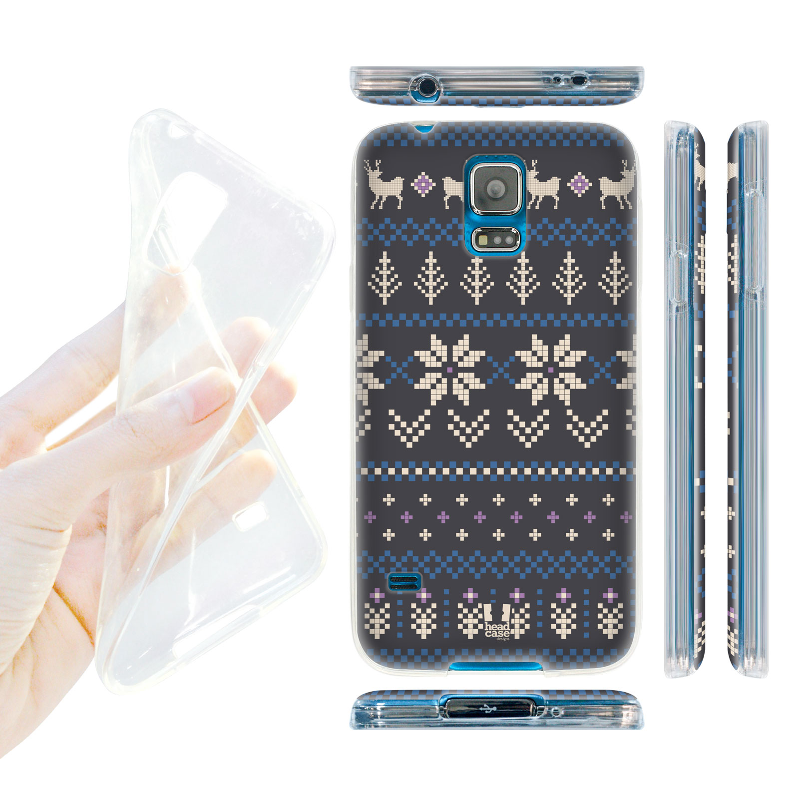 HEAD CASE silikonový obal na mobil Samsung galaxy S5 zimní motiv modrá a šedá