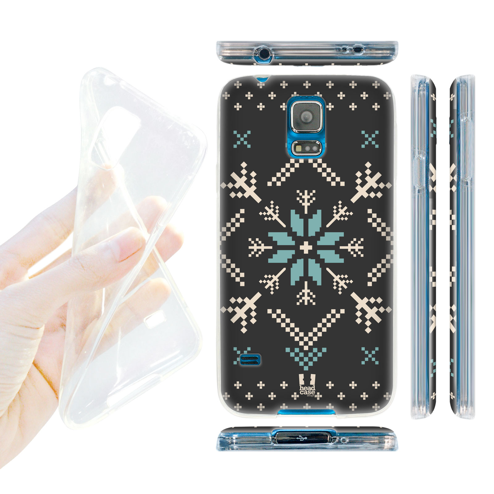 HEAD CASE silikonový obal na mobil Samsung galaxy S5 zimní motiv modrá vločka