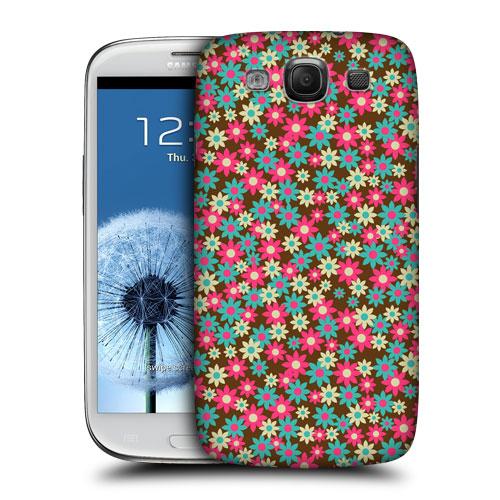 HEAD CASE obal na mobil Galaxy S3 i9300 malé květinky hnědá růžová