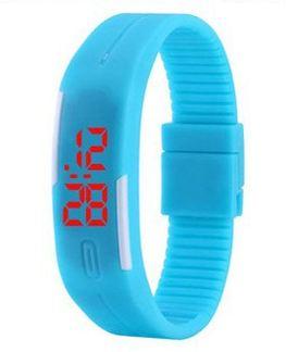 Sportovní LED hodinky silikonový náramek modrá barva