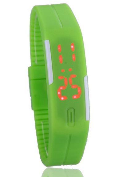 Sportovní LED hodinky silikonový náramek zelená barva