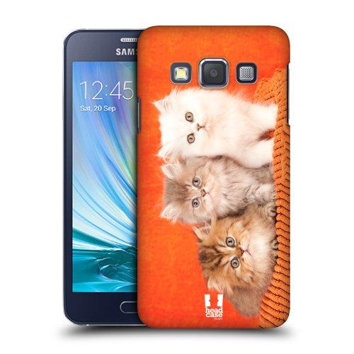HEAD CASE plastové pouzdro na mobil Samsung Galaxy A3 Foto kočičky oranžová
