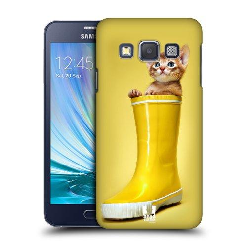 HEAD CASE plastové pouzdro na mobil Samsung Galaxy A3 kotě v botě žlutá