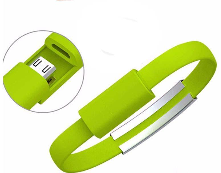 Nabíjecí náramek datový a nabíjecí kabel Micro USB zelená