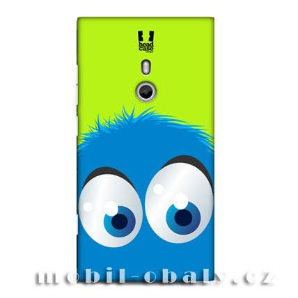HEAD CASE Obal Nokia Lumia 800 zelený plast vzor smajlík modrý