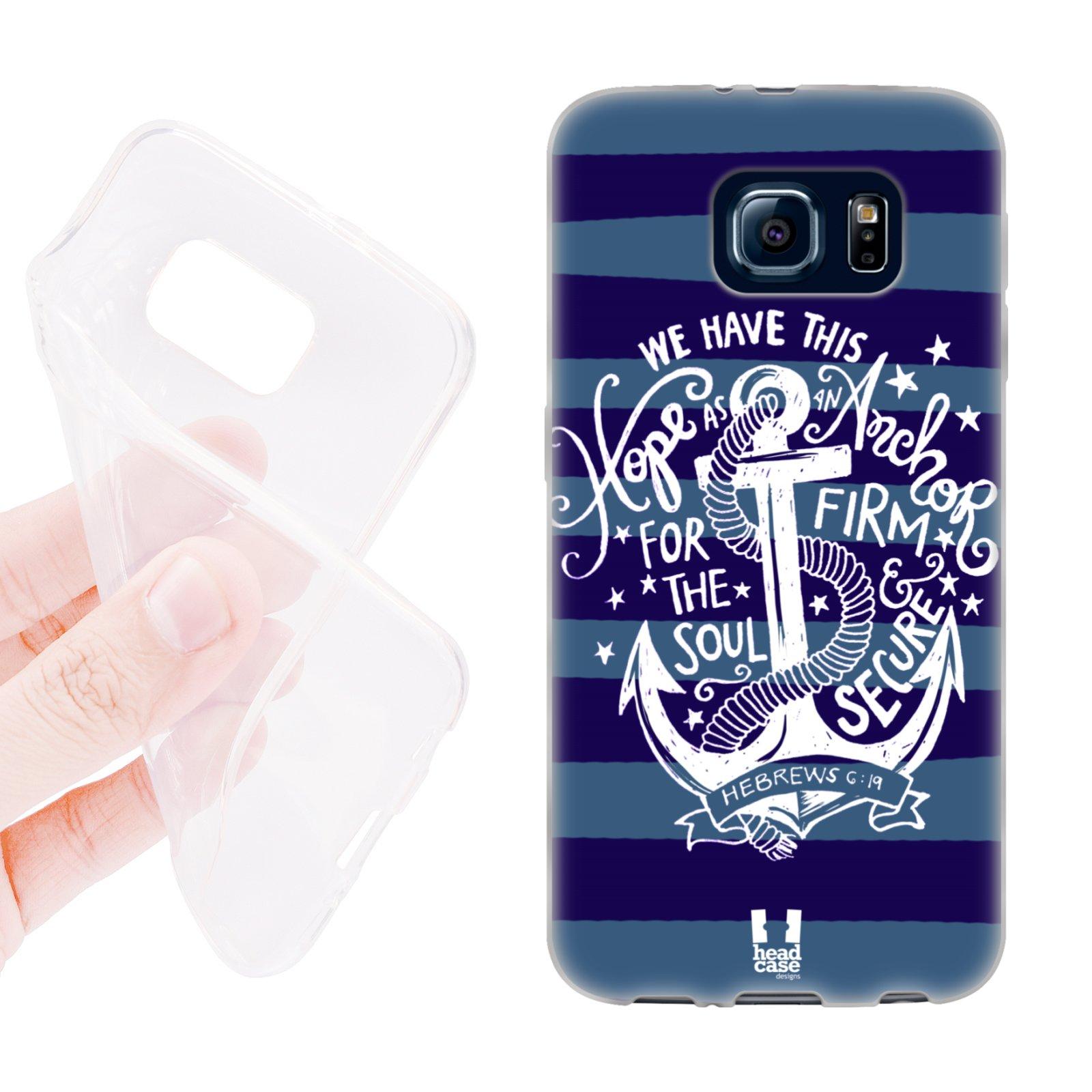 HEAD CASE silikonový obal na mobil Samsung galaxy S6 kotva modrá naděje pruhy