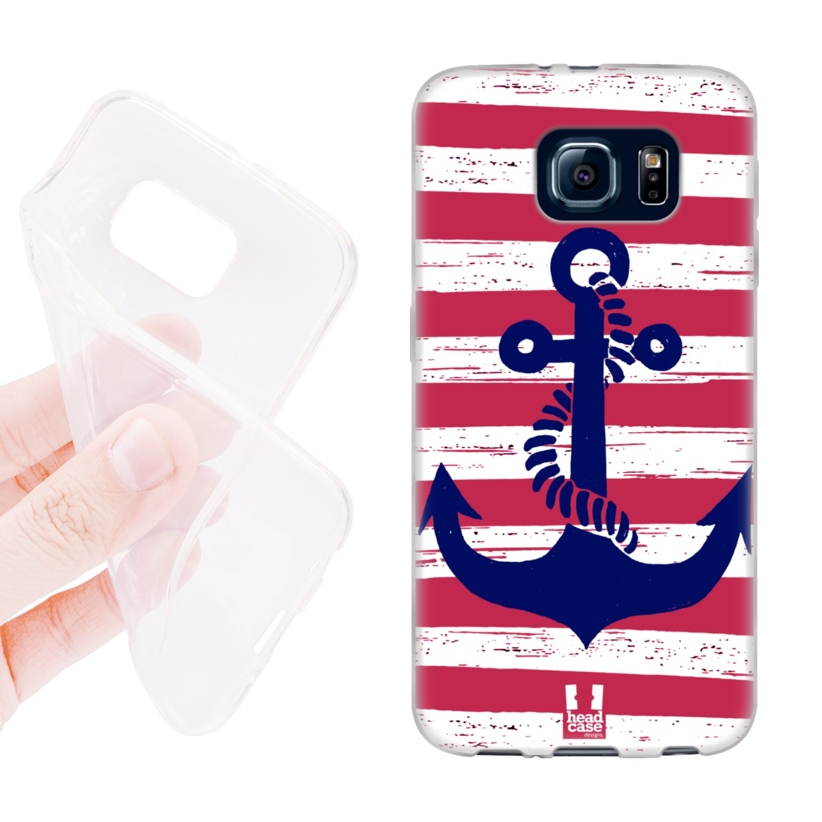 HEAD CASE silikonový obal na mobil Samsung galaxy S6 kotva červená naděje