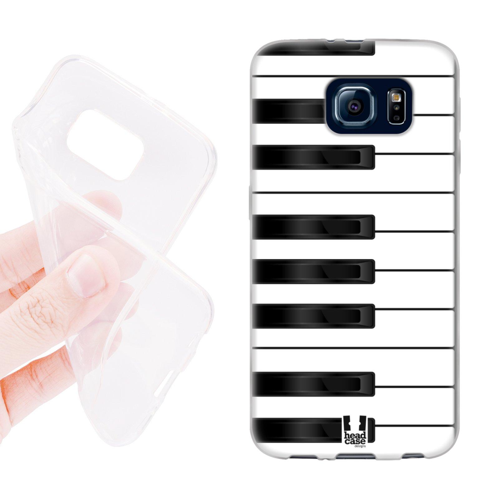 HEAD CASE silikonový obal na mobil Samsung galaxy S6 piáno bílá a černá