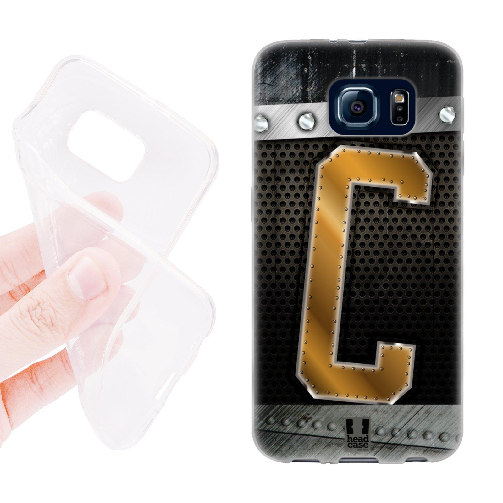 HEAD CASE silikonový obal na mobil Samsung galaxy S6 zlaté písmeno C