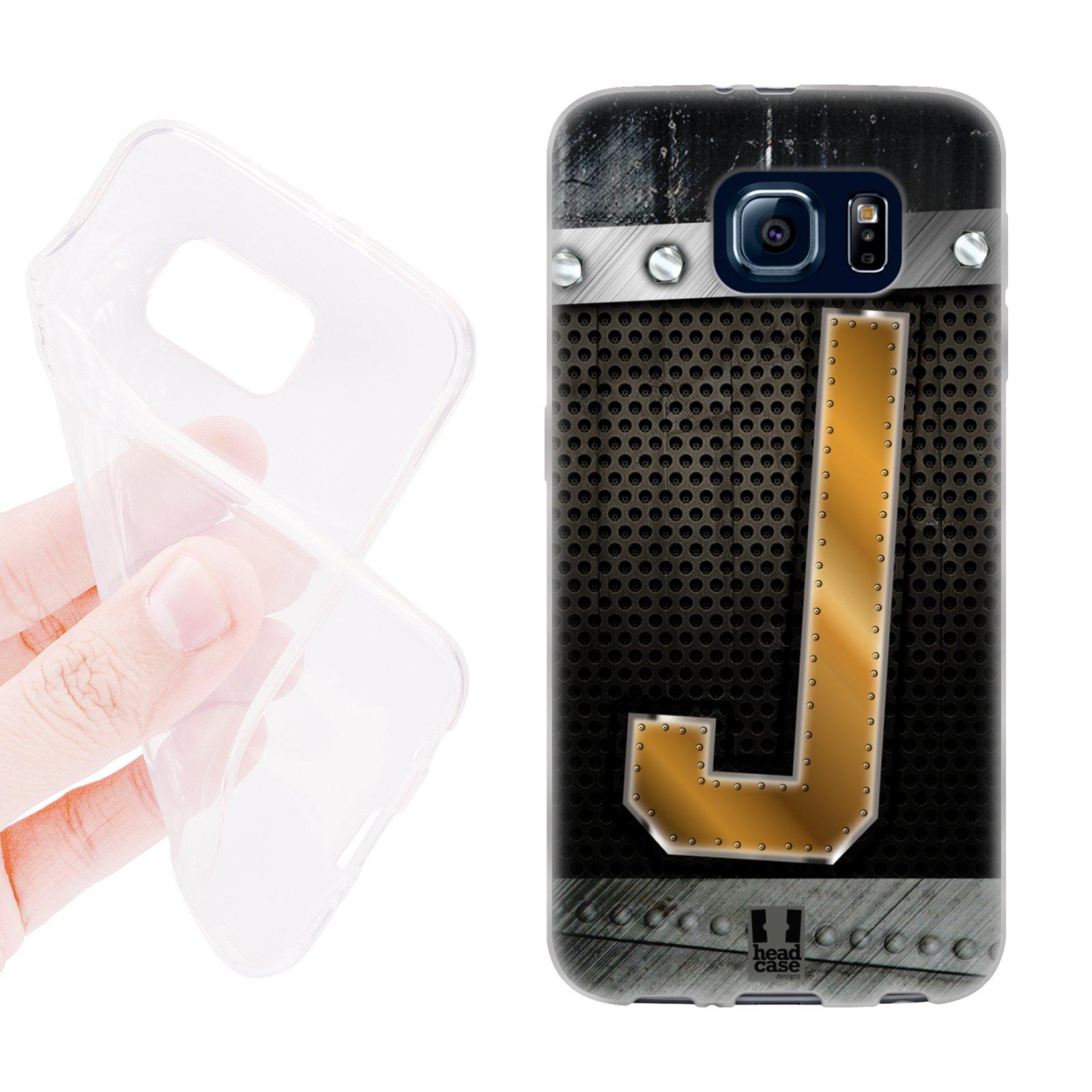 HEAD CASE silikonový obal na mobil Samsung galaxy S6 zlaté písmeno J