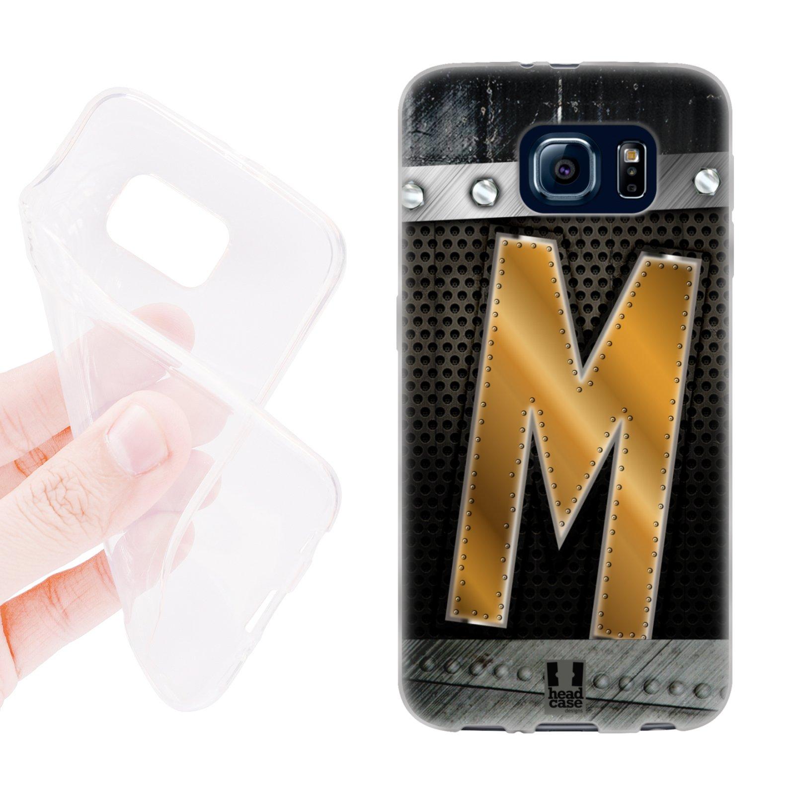 HEAD CASE silikonový obal na mobil Samsung galaxy S6 zlaté písmeno M