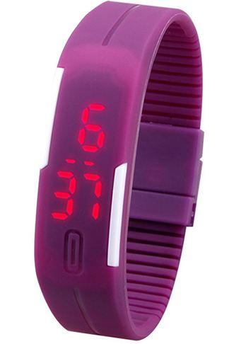 Sportovní LED hodinky silikonový náramek fialová barva