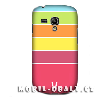 HEAD CASE pouzdro na mobil Samsung galaxy S3 mini barvené pruhy zelena, žlutá, červená