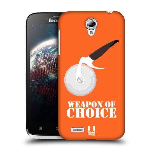 HEAD CASE obal na mobil LENOVO A859 Pizza maniak oranžová barva kráječ