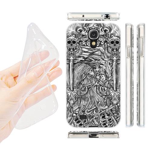HEAD CASE silikonový obal na mobil Samsung galaxy S4 lebky a meče černá a bílá